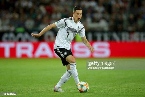 Julian Draxler of Germany runs with the ball during the UEFA Euro 2020 Qualifier match between Germany and Estonia at Opel Arena on June 11, 2019 in...