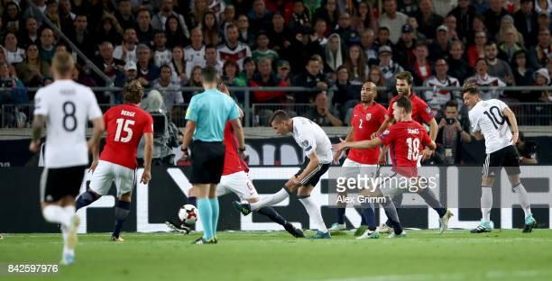 Julian Draxler of Germany scores his teams second goal during the FIFA 2018 World Cup Qualifier between Germany and Norway at MercedesBenz Arena on...