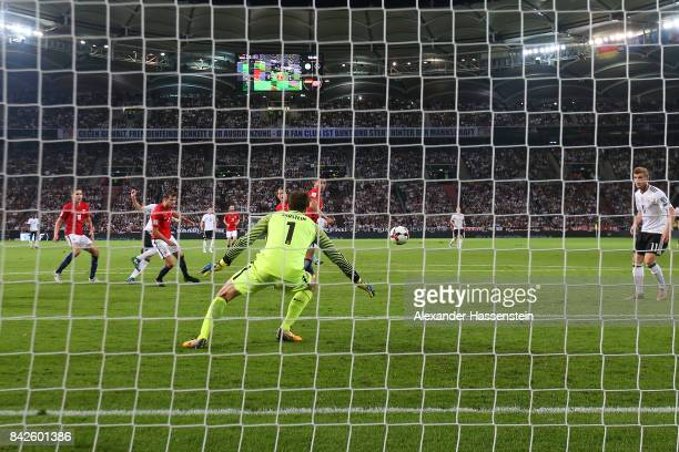 Julian Draxler of Germany scores to make it 20 for Germany during the FIFA 2018 World Cup Qualifier between Germany and Norway at MercedesBenz Arena...