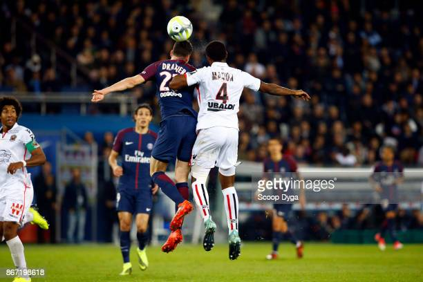 Julian Draxler of Paris Saint Germain and Santos Marlon of OGC Nice during the Ligue 1 match between Paris Saint Germain and OGC Nice at Parc des...