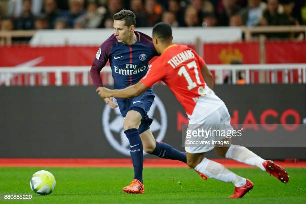 Julian Draxler of Paris Saint Germain Youri Tielemans of AS Monaco during the French League 1 match between AS Monaco v Paris Saint Germain at the...