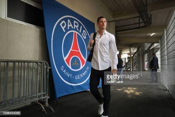 Julian Draxler of Paris SaintGermain arrives at the stadium before the Ligue 1 match between Rennes and Paris Saint Germain at Roazhon Park on...