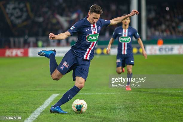 January 29: Julian Draxler of Paris Saint-Germain in action during the Pau V Paris Saint-Germain, Coupe de France match at Stade du Hameau on January...