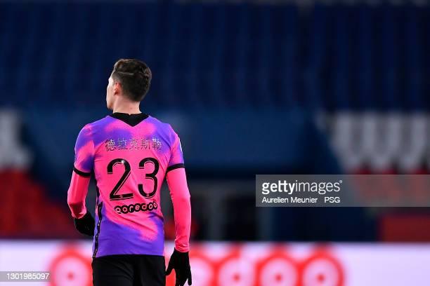 Julian Draxler of Paris Saint-Germain looks on during the Ligue 1 match between Paris Saint-Germain and OGC Nice at Parc des Princes on February 13,...
