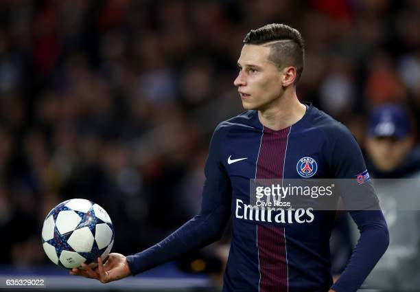 Julian Draxler of Paris SaintGermain looks on during the UEFA Champions League Round of 16 first leg match between Paris SaintGermain and FC...