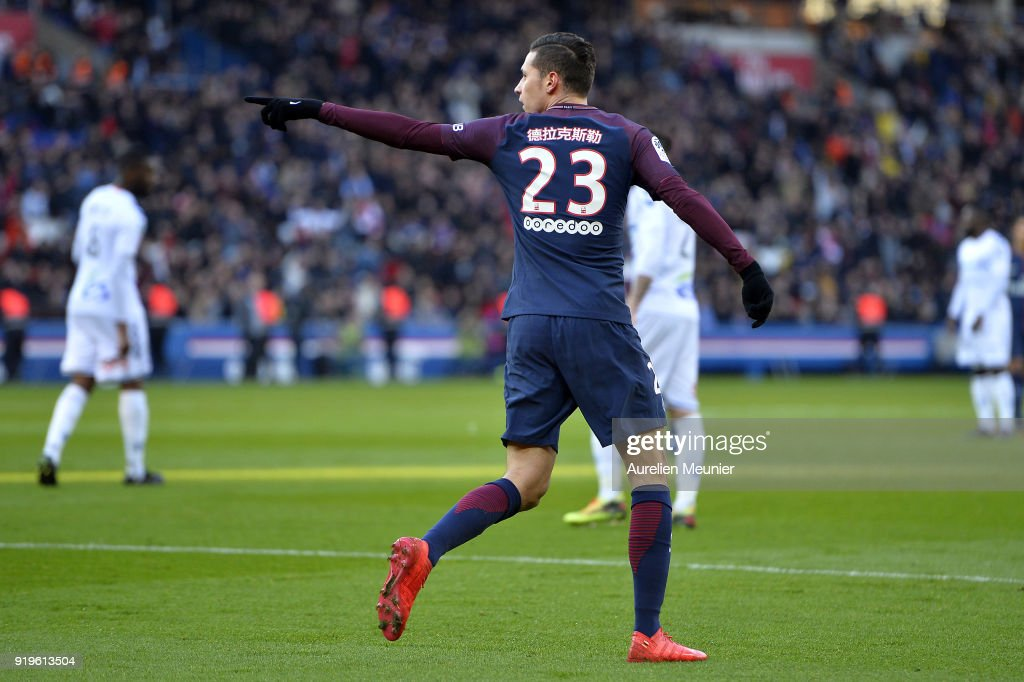 Julian Draxler of Paris Saint-Germain reacts after scoring during the Ligue 1 match between Paris saint-Germain and Strasbourg at Parc des Princes on February 17, 2018 in Paris, France. As a tribute to the Chinese New Year, the names of the players were written in Chinese on their shirts.