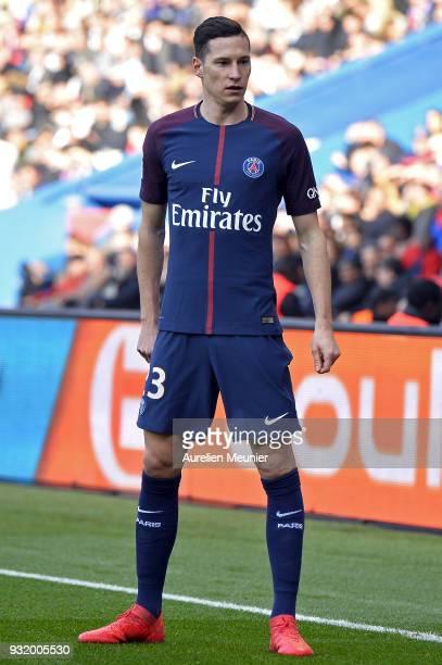 Julian Draxler of Paris SaintGermain reacts during the Ligue 1 match between Paris Saint Germain and Angers SCO at Parc des Princes on March 14 2018...