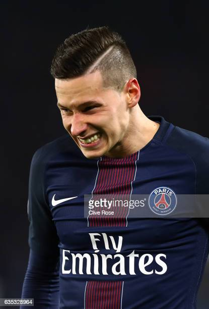 Julian Draxler of Paris SaintGermain reacts during the UEFA Champions League Round of 16 first leg match between Paris SaintGermain and FC Barcelona...