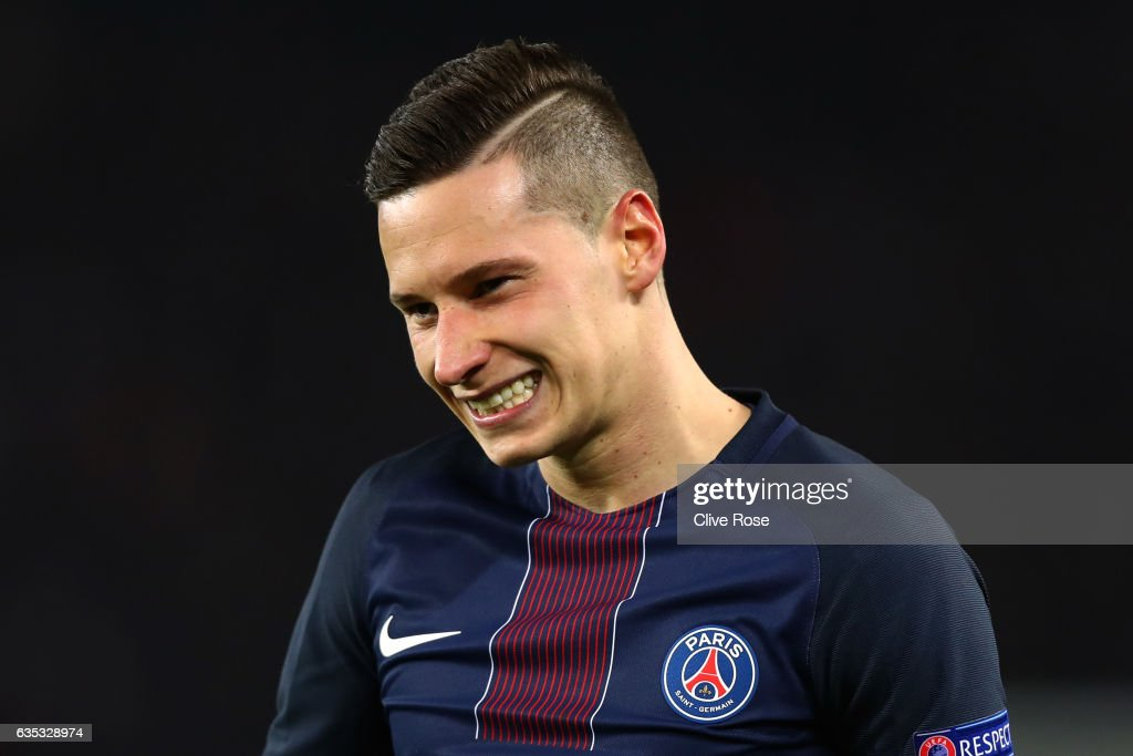 Julian Draxler of Paris Saint-Germain reacts during the UEFA Champions League Round of 16 first leg match between Paris Saint-Germain and FC Barcelona at Parc des Princes on February 14, 2017 in Paris, France.