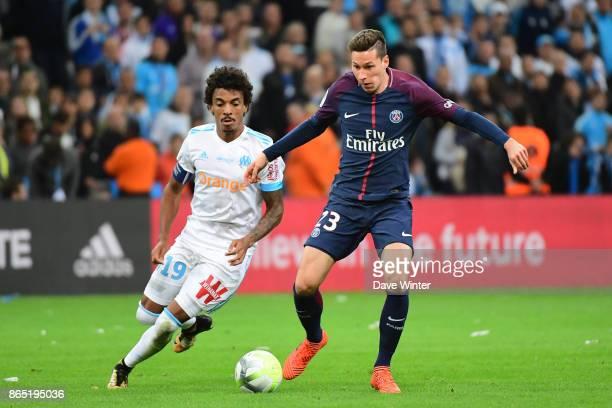 Julian Draxler of PSG and Luiz Gustavo Dias of Marseille during the Ligue 1 match between Olympique Marseille and Paris Saint Germain at Stade...