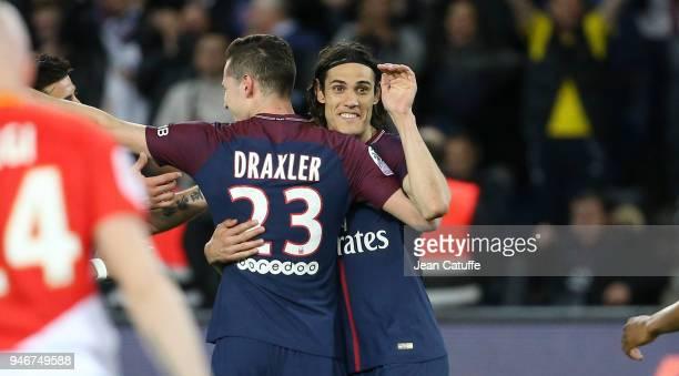 Julian Draxler of PSG celebrates scoring the 7th goal with Edinson Cavani during the Ligue 1 match between Paris Saint Germain and AS Monaco at Parc...