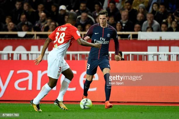 Julian Draxler of PSG during the Ligue 1 match between AS Monaco and Paris SaintGermain at Stade Louis II on November 26 2017 in Monaco