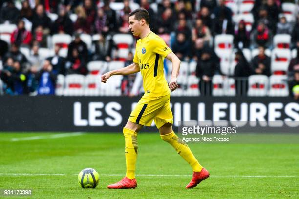 Julian Draxler of PSG during the Ligue 1 match between OGC Nice and Paris Saint Germain at Allianz Riviera on March 18 2018 in Nice