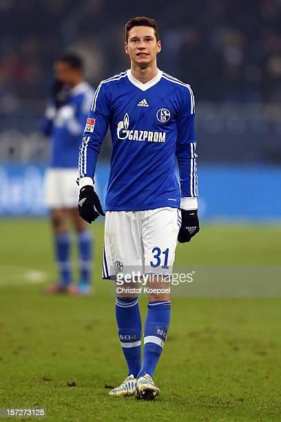 Julian Draxler of Schalke looks dejected after the Bundesliga match between FC Schalke 04 and Borussia Moenchengladbach at VeltinsArena on December 1...