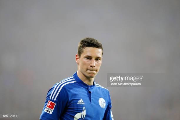 Julian Draxler of Schalke looks on during the Bundesliga match between FC Schalke 04 and 1 FC Nuernberg held at VeltinsArena on May 10 2014 in...