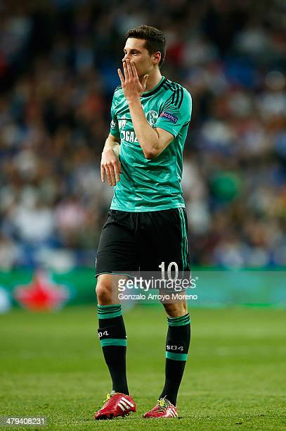 Julian Draxler of Schalke reacts during the UEFA Champions League Round of 16 second leg match between Real Madrid and FC Schalke 04 at Estadio...