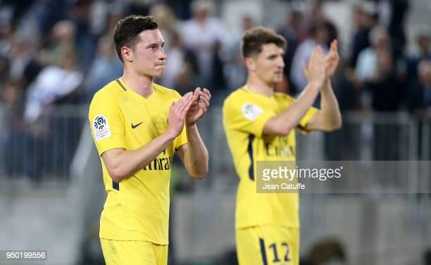 Julian Draxler Thomas Meunier of PSG celebrate the victory following the French Ligue 1 match between FC Girondins de Bordeaux and Paris Saint...