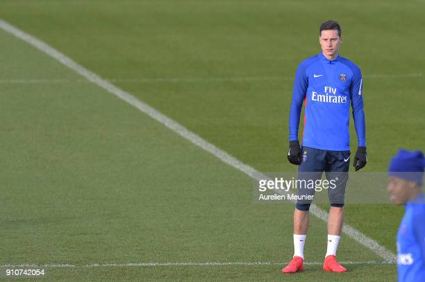 Julian Draxler warms up during a training session of Paris Saint Germain PSG at Camp des Loges on January 26 2018 in Paris France