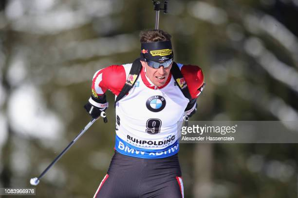 Julian Eberhard of Austria competes at the 10 km Men's Sprint during the IBU Biathlon World Cup at Chiemgau Arena on January 17 2019 in Ruhpolding...