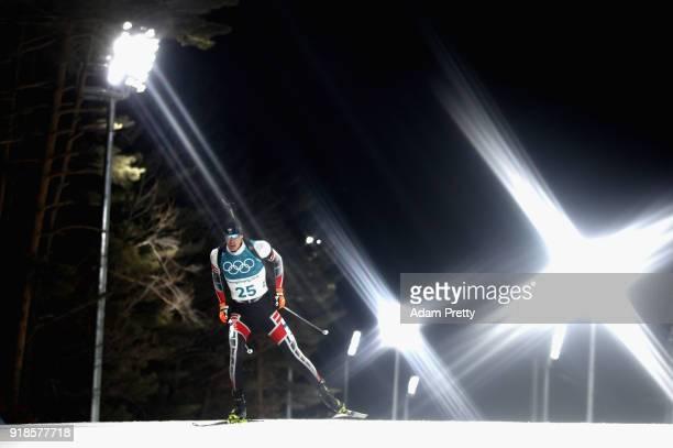Julian Eberhard of Austria competes during the Men's 20km Individual Biathlon at Alpensia Biathlon Centre on February 15 2018 in Pyeongchanggun South...
