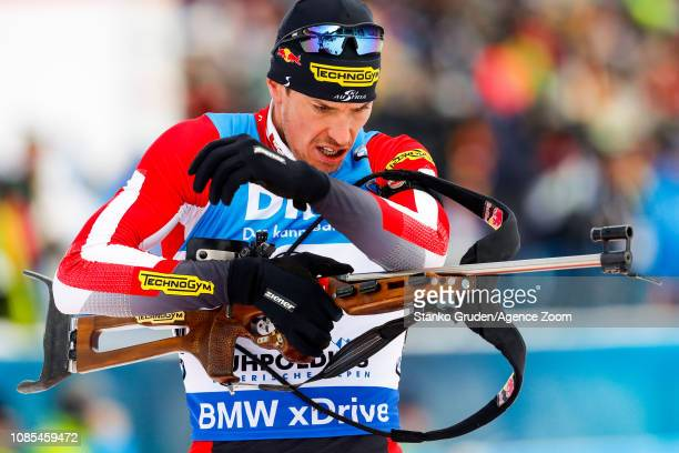 Julian Eberhard of Austria takes 2nd place during the IBU Biathlon World Cup Men's and Women's Mass Start on January 20, 2019 in Ruhpolding, Germany.