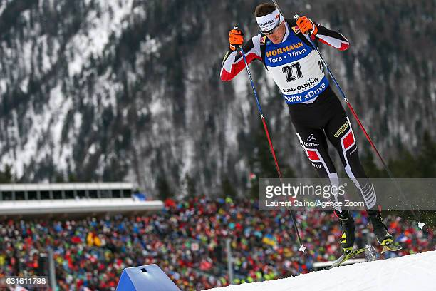 Julian Eberhard of Austria takes 2nd place during the IBU Biathlon World Cup Men's Sprint on January 13 2017 in Ruhpolding Germany