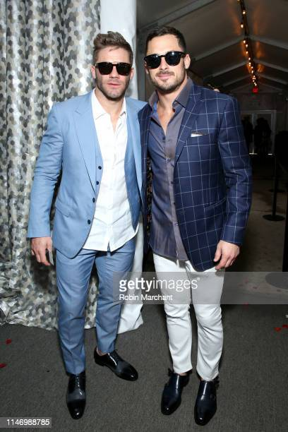 Julian Edelman and Danny Amendola attend the 145th Kentucky Derby at Churchill Downs on May 4 2019 in Louisville Kentucky