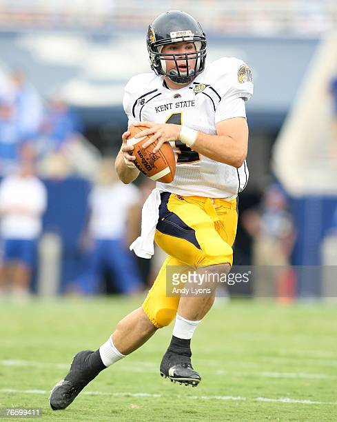 Julian Edelman of the Kent State Golden Flashes runs with the ball during the game against the Kentucky Wildcats on September 8 2007 at Commonwealth...