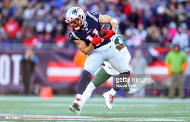 Julian Edelman of the New England Patriots catches a pass during the second quarter of a game against the New York Jets at Gillette Stadium on...