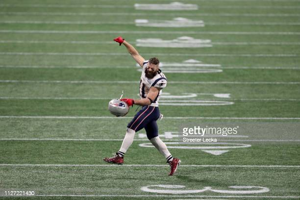 Julian Edelman of the New England Patriots celebrates after defeating the Los Angeles Rams in Super Bowl LIII at MercedesBenz Stadium on February 03...