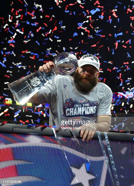 Julian Edelman of the New England Patriots celebrates his teams 133 win over the Los Angeles Rams during Super Bowl LIII at MercedesBenz Stadium on...