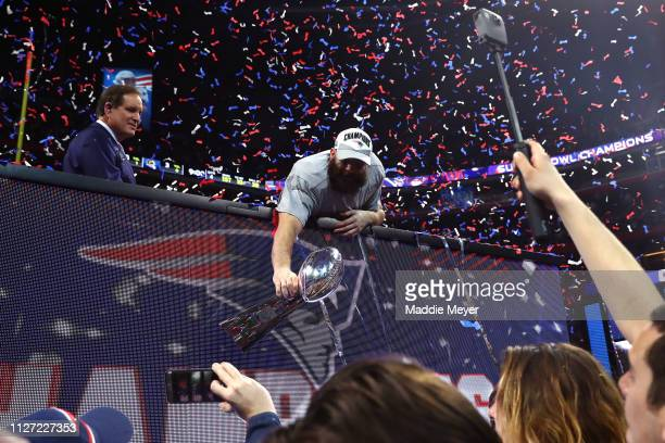 Julian Edelman of the New England Patriots celebrates with the Vince Lombardi Trophy after his teams 13-3 win over the Los Angeles Rams during Super...