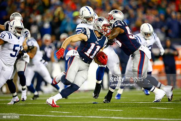 Julian Edelman of the New England Patriots in action against the Indianapolis Colts of the 2015 AFC Championship Game at Gillette Stadium on January...