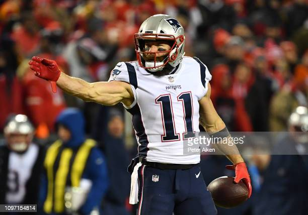 Julian Edelman of the New England Patriots reacts after a first down in the first quarter against the Kansas City Chiefs during the AFC Championship...