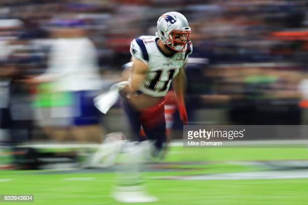 Julian Edelman of the New England Patriots warms up prior to Super Bowl 51 at NRG Stadium on February 5 2017 in Houston Texas