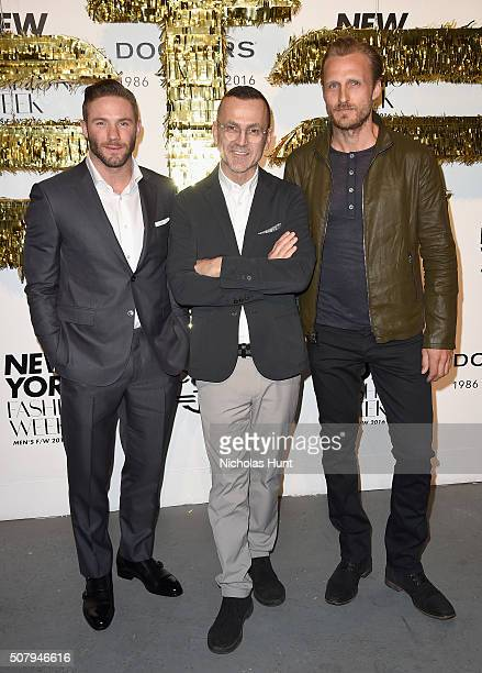 Julian Edelman Steven Kolb and Jesper Vesterstrom attend the Dockers x CFDA NYFWM Opening Party during New York Fashion Week Men's Fall/Winter 2016...