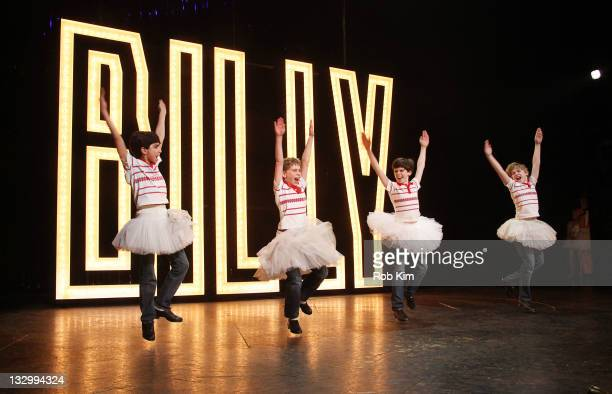 Julian Elia Tade Biesinger Joseph Harrington and Peter Mazurowski attend curtain call at the Billy Elliot 3 years on Broadway celebration at the...
