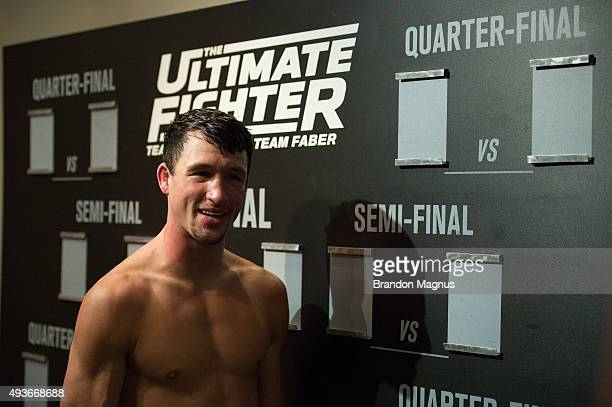 Julian Erosa celebrates his victory over Mehdi Baghdad during the filming of The Ultimate Fighter: Team McGregor vs Team Faber at the UFC TUF Gym on...