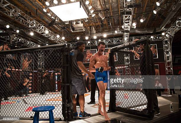 Julian Erosa exits the cage after his victory over Mehdi Baghdad during the filming of The Ultimate Fighter: Team McGregor vs Team Faber at the UFC...