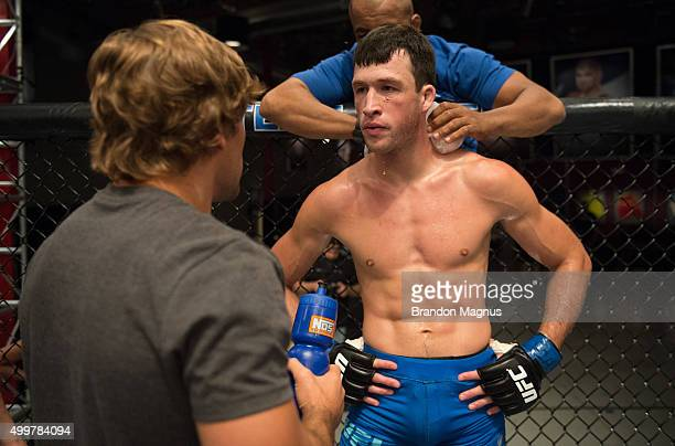 Julian Erosa receives advice from head coach Urijah Faber in between rounds while facing Abner Lloveras during the filming of The Ultimate Fighter...