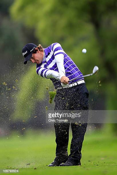 Julian Etulain of Argentina hits his approach shot to the 6th green during the first round of the Pacific Rubiales Bogota Open Presented by Samsung...