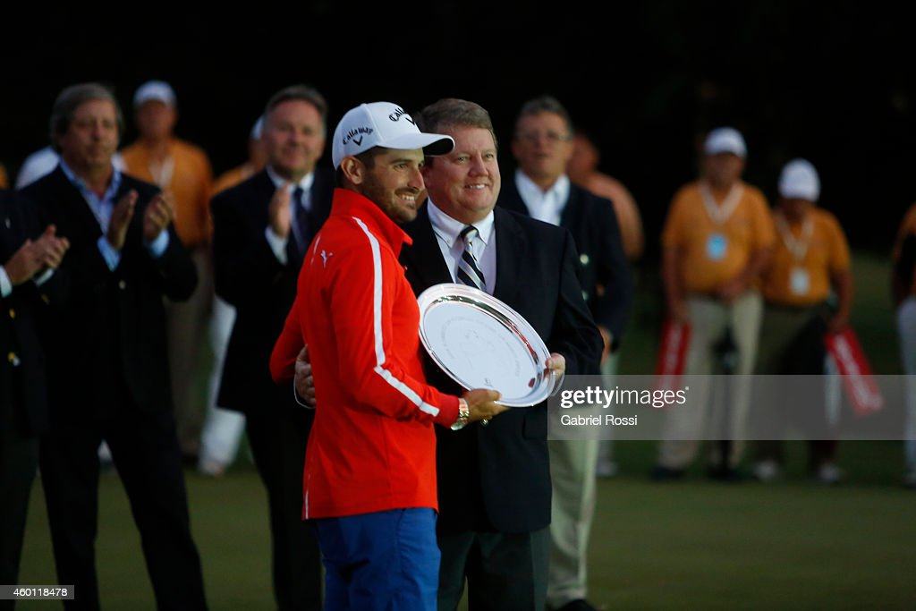 Julian Etulain of Argentina is honored during the closing day of the 109th VISA Open Argentina as part of PGA Latinoamerica tour at Martindale Country Club on December 07, 2014 in Buenos Aires, Argentina.
