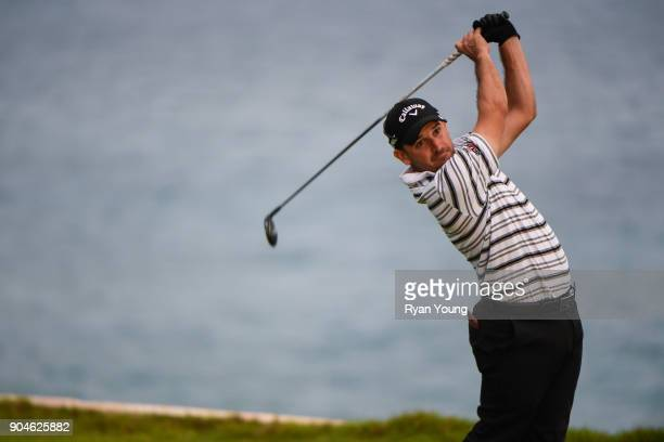 Julian Etulain plays his shot from the 15th tee during the first round of the Webcom Tour's The Bahamas Great Exuma Classic at Sandals Emerald Bay...