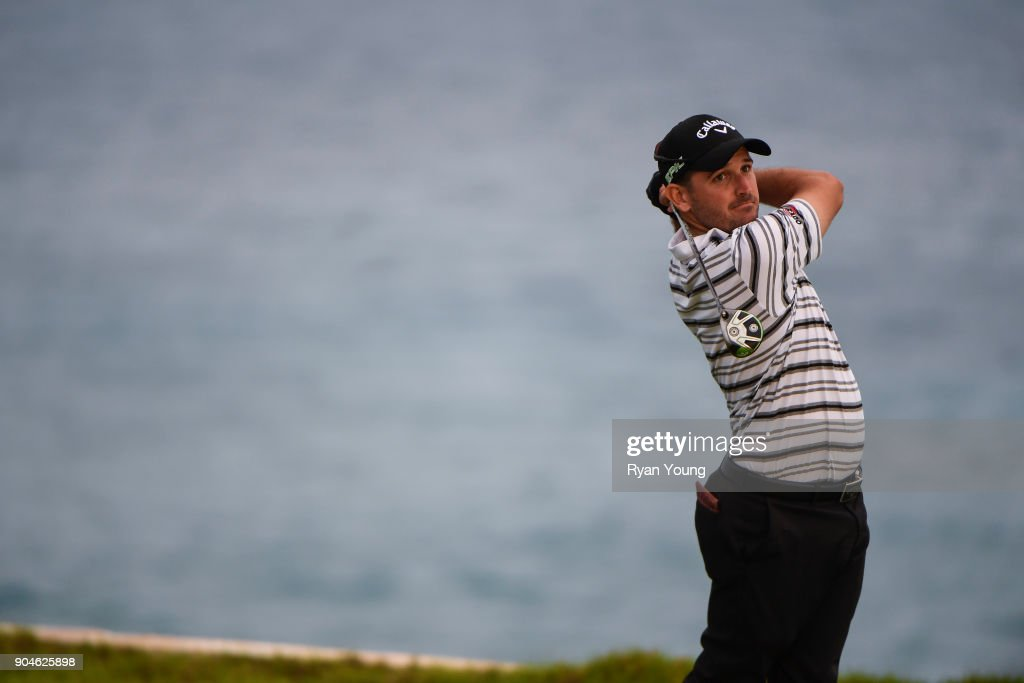 Julian Etulain plays his shot from the 15th tee during the first round of the Web.com Tour's The Bahamas Great Exuma Classic at Sandals Emerald Bay - Emerald Reef Course on January 13, 2018 in Great Exuma, Bahamas.