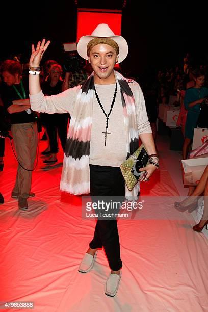 Julian F M Stoeckel attends the Anja Gockel show during the MercedesBenz Fashion Week Berlin Spring/Summer 2016 at Brandenburg Gate on July 8 2015 in...
