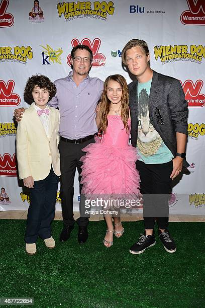 Julian Fedder Jason London Caitlin Carmichael and Austin Anderson attend the 'Wiener Dog Internationals' Los Angeles Premiere at Pacific Theatre at...