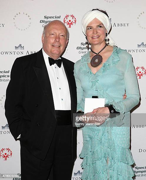Julian Fellowes and Emma Joy Kitchener attends the Downton Abbey Gala Dinner at The Landmark Hotel on June 24 2015 in London England