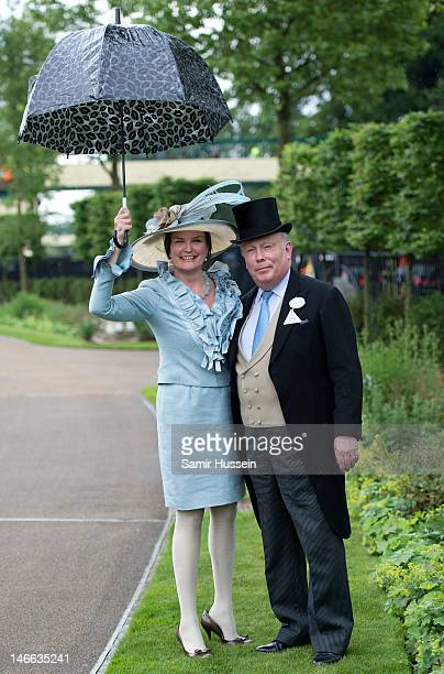 Julian Fellowes and Emma Kitchener attend Ladies Day of Royal Ascot 2012 at Ascot Racecourse on June 21 2012 in Ascot United Kingdom