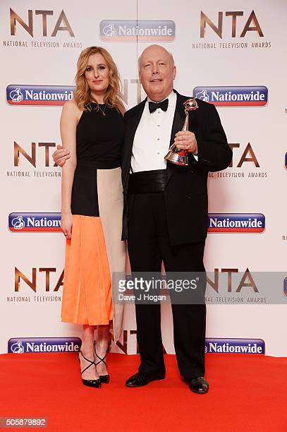Julian Fellowes and Laura Carmichael of Downton Abbey holding the award for Drama attend the 21st National Television Awards at The O2 Arena on...