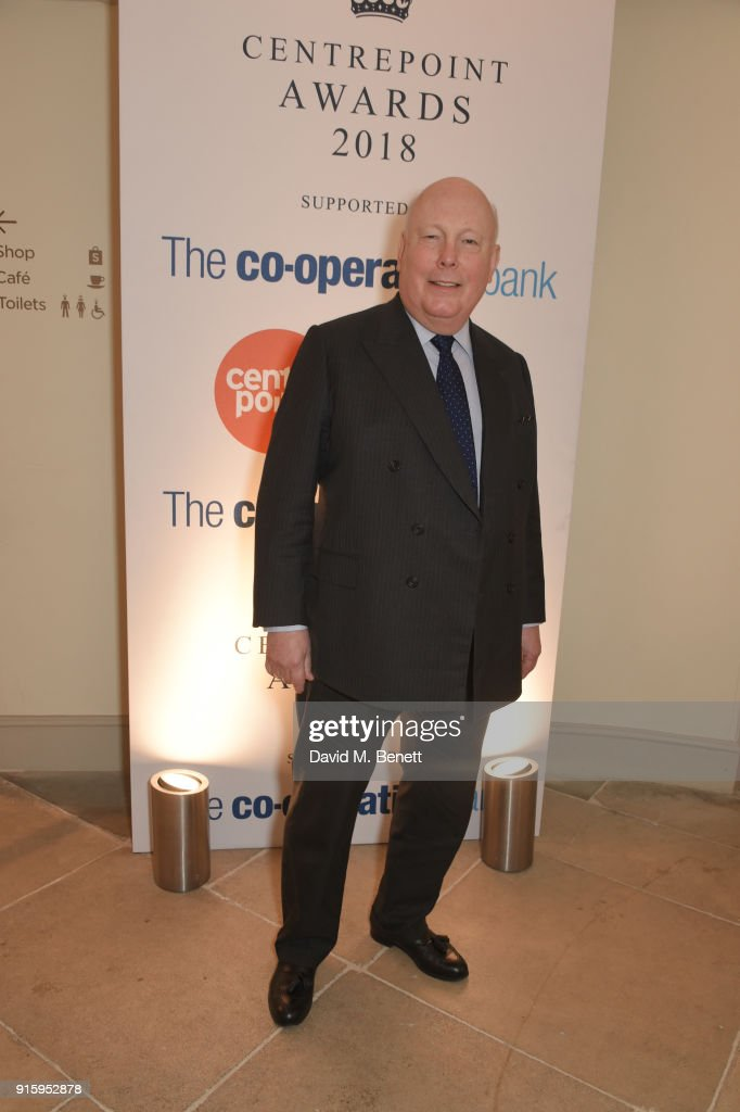 Julian Fellowes attends 'The Centrepoint Awards' to celebrate the courage shown by homeless young people supported by the charity at Kensington Palace on February 8, 2018 in London, England.